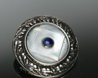 Sterling , Shell and Blue Stone Button Brooch - Antique Sterling Frame