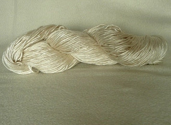 Handspun Pure Silk YARN/ From A grade Mulberry Silk Tops, Silk Yarn Single Ply Fingering Weight Undyed Yarn