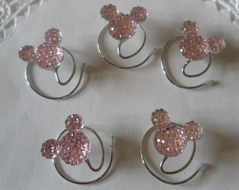 Mouse Ears Hair Swirls for Disney Wedding in Dazzling Baby Pink Acrylic