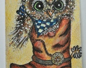 OOAK ACEO or mini painting that is 2.5 x 3.5 inches of baby owl wearing a bandana in cowboy boot, done in watercolors, ink,  colored pencil