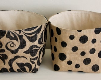 Burlap Storage Baskets  - Select Your Size