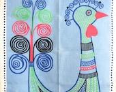 Vintage Kitchen Towel Swedish Textile MOD Birds Monica Sampe Designer