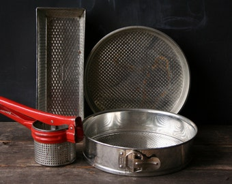 Vintage Baking Pans and Potato Ricer From Nowvintage on Etsy