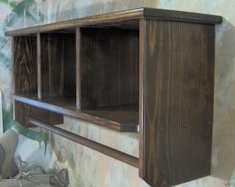 """Espresso 36"""" Contemporary Multipurpose Shelf, Laundry, Curio & Garage Rod JLJ Original Design"""