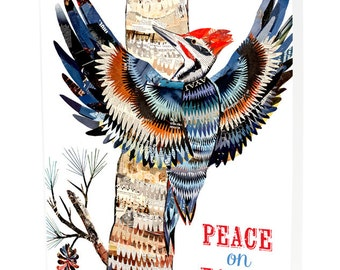 Woodpecker Folded Holiday Cards, Box of 10 - A Collaboration with Mixed Media Artist Dolan Geiman - Peace on Earth - OC1158-BX