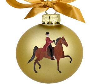 American Saddlebred Horse with Rider Hand Painted Christmas Ornament - Can Be Personalized with Name