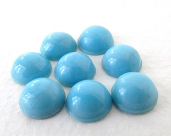 Vintage Glass Cabochon Turquoise Blue Swirl Rounds 9mm gcb0941 (8)