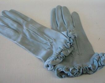 vintage blue ruffled edge gloves