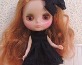 Short Bright Black Ruffle dress with matching Hair bow