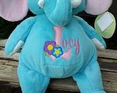 personalized baby gift, stuffed plush, elephant kids personalized stuffed animal keepsake, baby gift, big sister,embroider buddy
