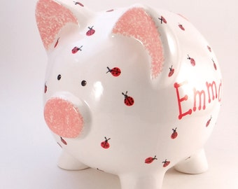 Lady Bug Piggy Bank - Personalized Piggy Bank - Nature Theme Bank - Bug Bank - Kids Piggy Bank - with hole or NO hole in bottom - USA made