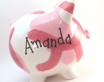Pink Camo Piggy Bank - Personalized Camo Piggy Bank - Camouflage Bank for Girls -  Personalized Piggy Bank - with hole or NO hole in bottom