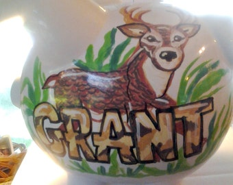 Personalized Piggy Bank Deer Camouflage Hunting Design Handpainted