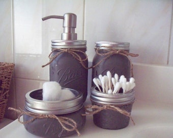 Painted Mason Jar Bathroom Set. Painted and distressed mason jars.