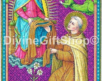 """Icon St. Simon Stock receiving The Scapular 5"""" X 7"""" Beautiful Icon The Scapular devotion of anyone being enrolled in it."""