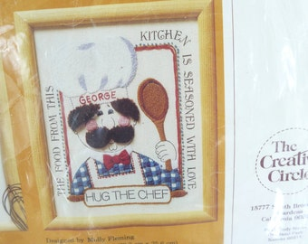 Vintage Needlepoint Kit, Hug the Chef, Fabric, Thread, Instructions, The Creative Circle,Vintage 1982,Sewing Pattern,Sewing Supplies,Kitchen