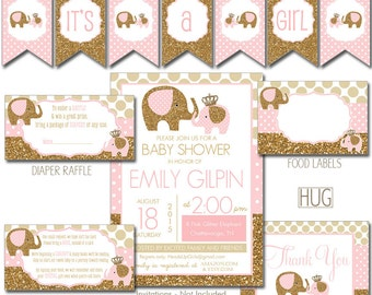Digital Printable Pink and Gold Glitter Elephant Baby Shower Party Package - Shower Games and Decorations PP031