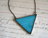 BlueTriangle Glass Necklace Geometric Bib Stained Glass Jewelry