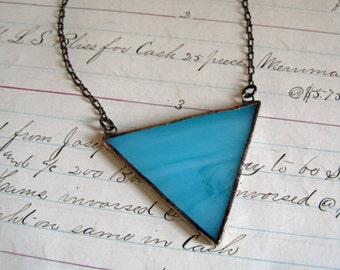 BlueTriangle Glass Necklace Geometric Bib Stained Glass Jewelry