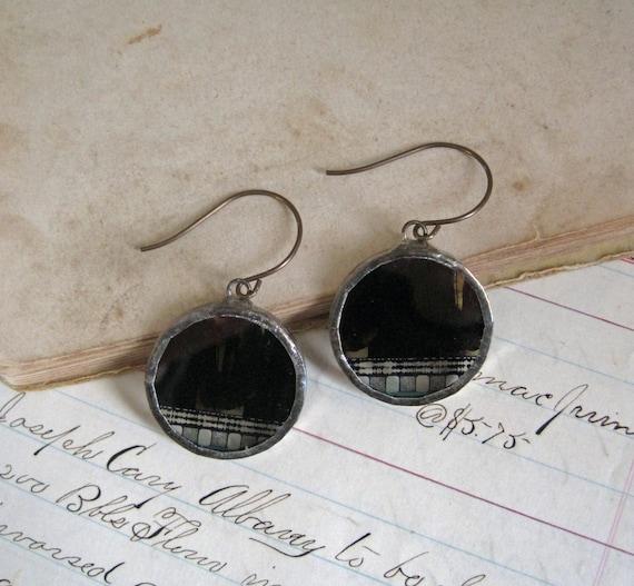 Movie Film Earrings Glass Soldered Jewelry Industrial