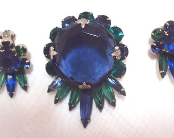 Blue and Green Rhinestone Pin Set Vintage