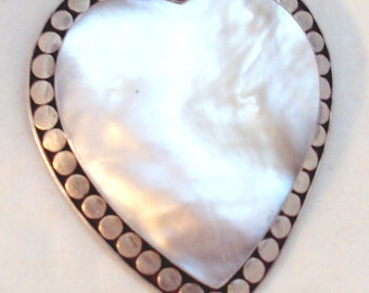 Large Sterling Silver Mother of Pearl Heart Pendant, Pin