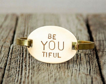 Hand Stamped Be You Tiful Bracelet, Brass Bracelet, Be YOU Tiful, Handstamped Brass, Handstamped Bracelet, Stamped Bracelet, Stamped Cuff