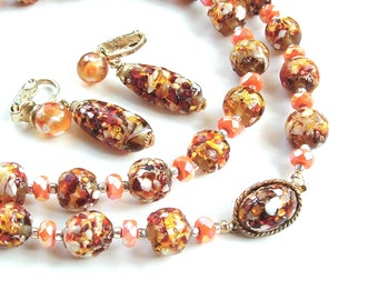 Exquisite Venetian Glass Bead Necklace Dangle Earrings Jewelry Set, Gifts Coral Copper Bronze Glitter  Bridal Jewelry