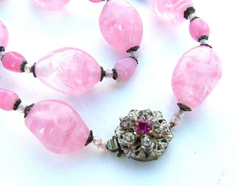 Signed MIRIAM HASKELL Necklace Pink Rose Quartz Glass Stone Organic Rhinestone Beaded Vintage Jewelry