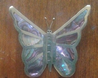 Vintage Mexican Sterling Abalone Shell Butterfly Brooch Pin Large