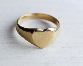 Blank Heart Signet Ring
