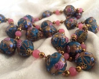 Antique Handcrafted Murano Lampwork Robin's Egg Blue Necklace