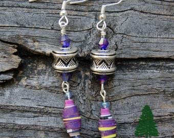 Bohemian Barrel and Paper Bead Earrings