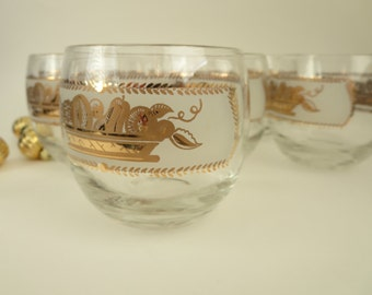 Vintage Roly Poly Glasses - Heritage Fruit Basket Pattern Roly Poly Glasses - Mid Century Barware Frosted Band & Gold Fruit - Set of 7