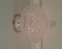CLEARANCE PRICED - Vintage Crystal Candy Bowl on Silver Plated Pedestal, Sweets Bowl