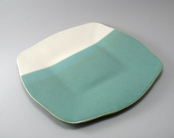 Ceramic Serving Platter-Pottery Platter-Serving Tray-Tableware-Slab Built-Curved Rim-Pearl Green Glaze-Soft Cream Glaze-Ready to Ship