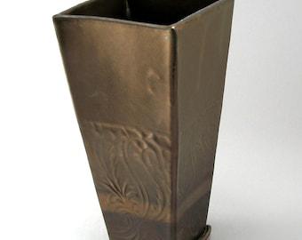 Vase - Pottery - Tall Vase - Bronze Vase - Square Vase - Ready to Ship