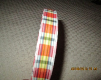 Ribbon, vintage large rolls one price, multicolored plaid   1940's