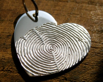 Big Heart Shaped Finger Print Pendant in Solid 14K White Gold with Custom Quote Engraving