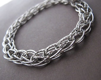 vintage sterling silver interlocking link bracelet for charms