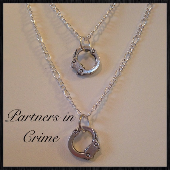 items similar to pretty quot partners in crime quot necklace
