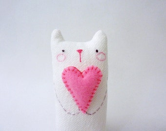 Stuffed Cat with Heart, Mini Doll Cat, Cat Art Doll, Plush Cat, Toy Cat, Romantic, Cat Decor - Gift For Cat Lover