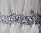 Wedding Belt, Sash, Luxury 70% OFF /Fleur De Lis French Lily/,Silver Venice Lace, Rhinestones, Austrian Crystals,Ready to Ship, Ships Free