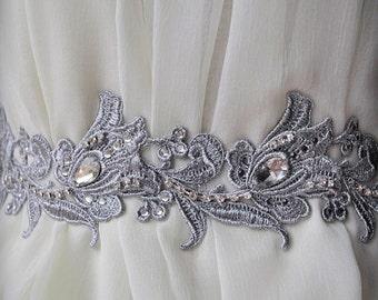 Wedding Belt, Sash, Luxury 70% OFF /Fleur De Lis French Lily/,Silver Venice Lace, Rhinestones, Austrian Crystals,Ready to Ship, Ships Free