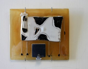 Fused Glass Wall  hook, Cow Painting Fused glass art   by Virtulyglass.