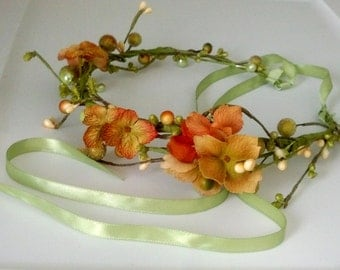 Fall Flower Crown orange vine green pip berry hair Wreath Destination Wedding bridal accessories Wedding Bridal party circlet halo