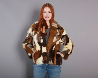 70s PATCHWORK Rabbit FUR COAT / 1970s Soft Brown & Cream Spotted Jacket