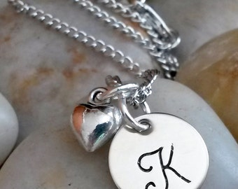 Monogram Initial Necklace, Initial Jewelry, Initial Necklace, Initial Pendant, Hand Stamped Initial, Personalized Gift, Bridesmaids Jewelry