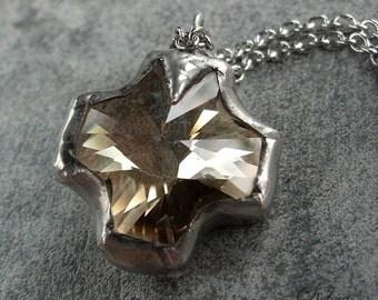 Cross Necklace, Swarovski Cross Necklace, Rustic Cross Necklace, Rocker Jewelry, Biker Necklace, Cowgirl Necklace,