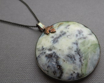 Green Moss Opal Pendant Necklace Leaf Nature Black Silver Jewellery Dendritic Agate
